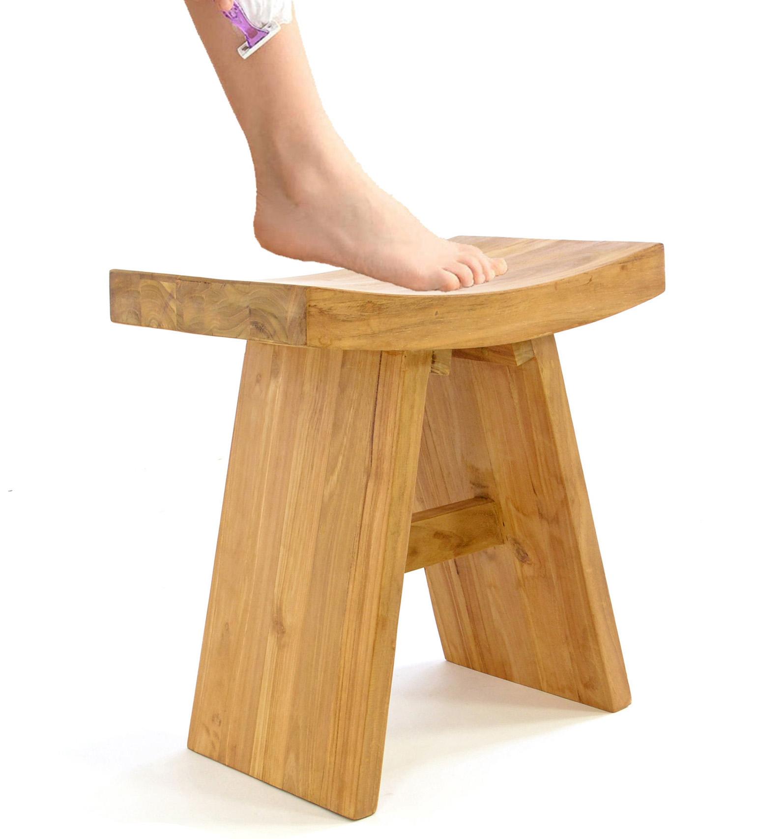 Golden Teak Wood Stool Chair Shower Bench Newbuy
