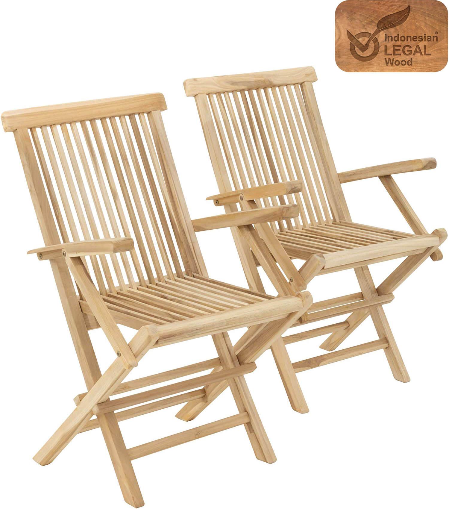 Golden Teak Wood Folding Chair 2pcs Newbuy